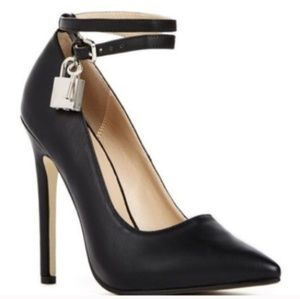 JustFab Ankle Strap Heels with Lock Embellishement